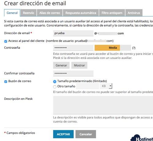 Crear un Cuenta de Correo en Plesk
