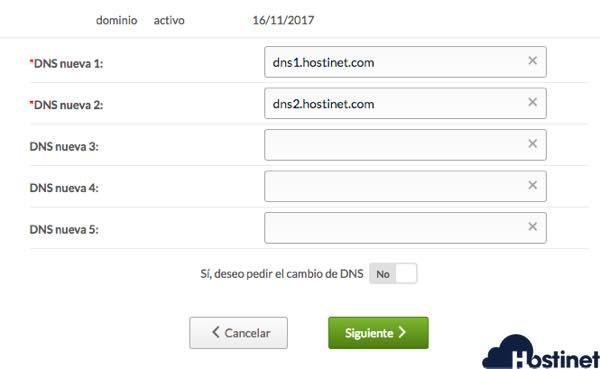 Estas son las DNS de Hostinet para que apunten a Hostinet