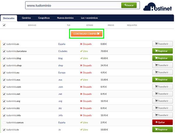 hostinet dominio busqueda continuar compra