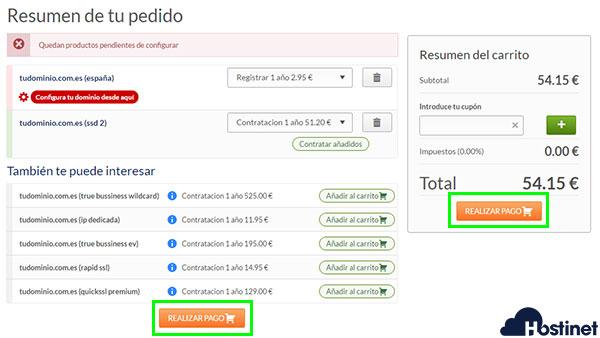 Hostinet realizar pago de un dominio y hosting