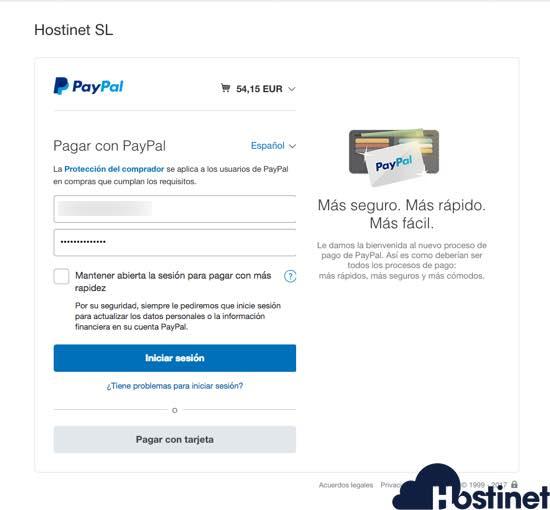 pagos por paypal en hostinet