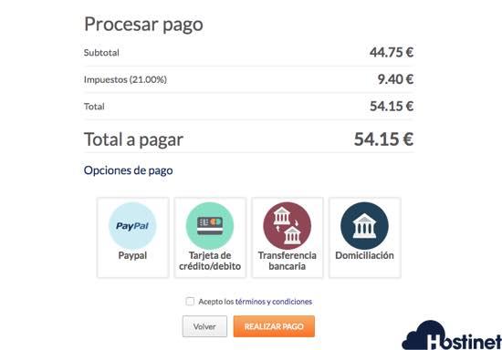 procesar pago productos hostinet