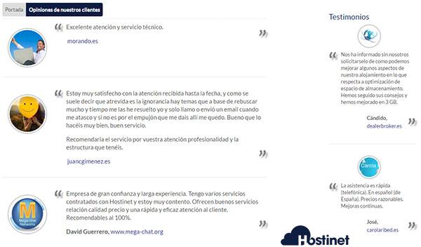 Opiniones de los clientes de Hostinet