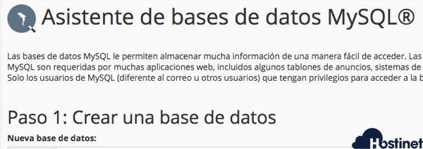 Asistente de bases de datos MySQL® en cPanel - Hostinet