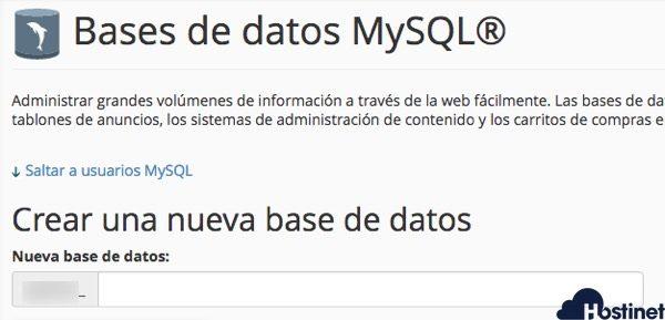 Bases de Datos MySQL cpanel - Hostinet