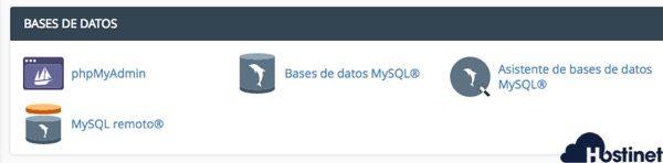 gestion de bases de datos en cpanel - Hostinet