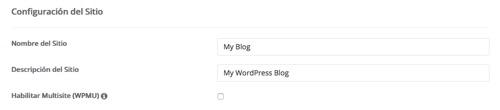 configuracion del sitio wordpress