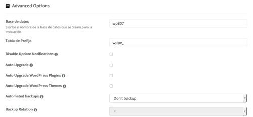 opciones avanzadas para WordPress