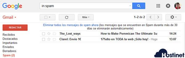 Google Spam Bandeja