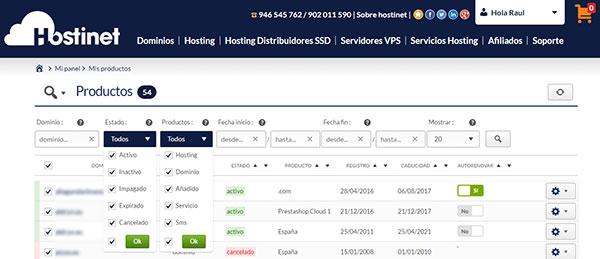 hostinet panel de cliente listado productos