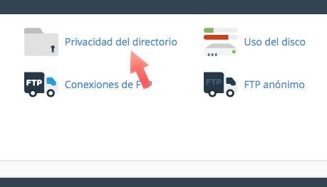 privacidad directorio cpanel