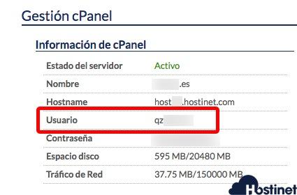 nombre usuario cpanel hostinet.com Ficha de Cliente