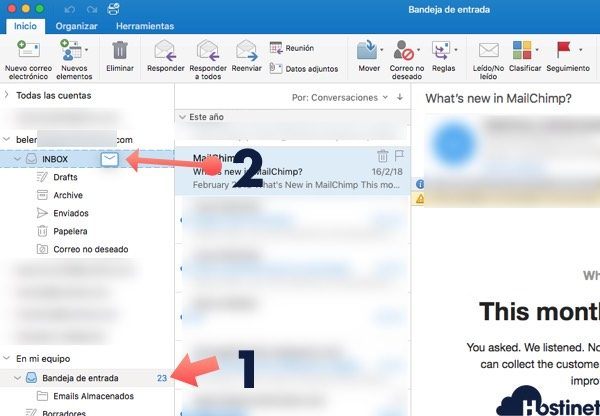 arrastrar email pop bandeja entrada imap