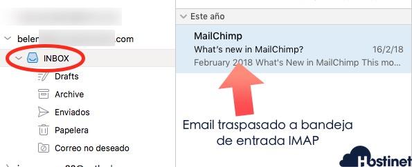 email traspasado bandeja entrada imap