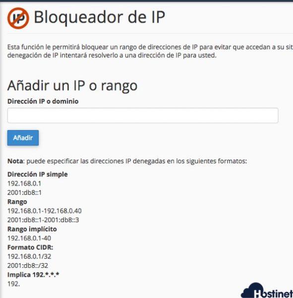 bloqueador ip cpanel - Hostinet