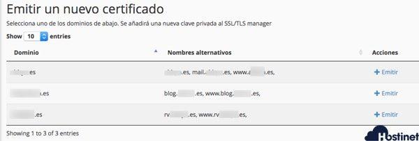 dominios subdominios certificado ssl hostinet