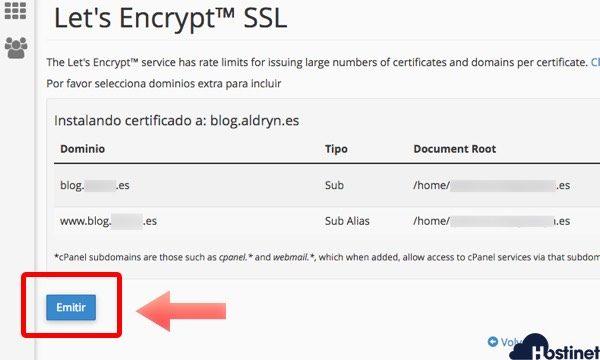 pulsar emitir certificado ssl en Hostinet
