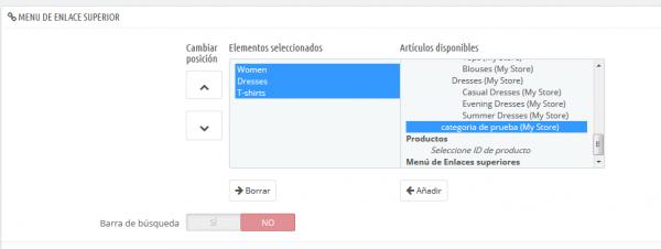 modificar menu Prestashop 4