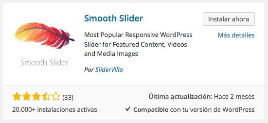plugin Smooth Slider para WordPress