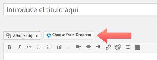el botón de Dropbox