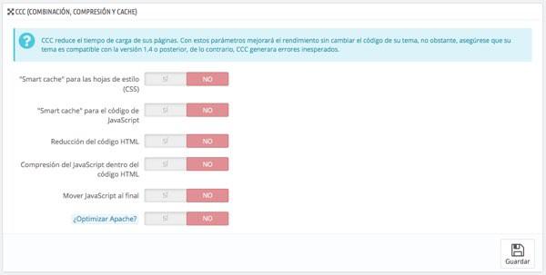 Desactivar Caché CCC en PrestaShop