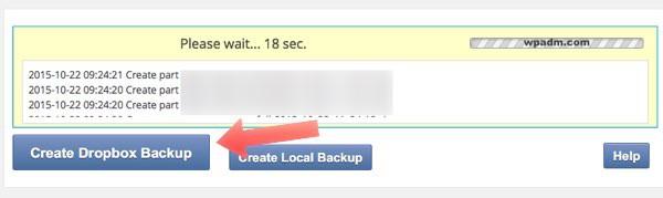 crear backup en dropbox