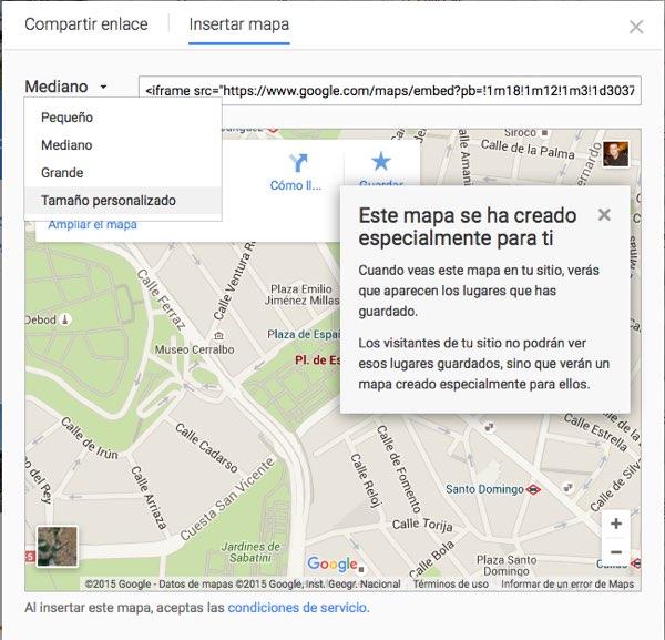 elegir el tamaño del mapa de Google Maps