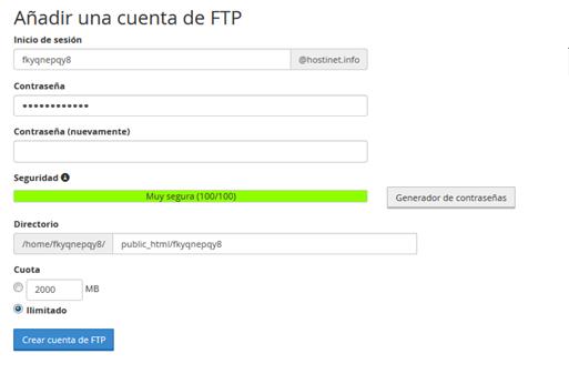 Panel CPanel Seccion Archivos Cuenta FTP