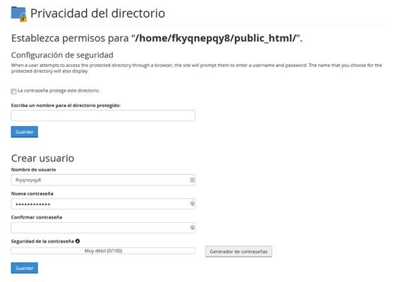 Panel CPanel Seccion Archivos Privacidad de Directorio