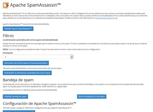 Panel Cpanel Seccion correo apache spamAssasin