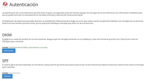 Panel Cpanel Seccion correo autentificacion