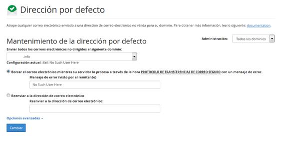 Panel Cpanel Seccion correo direccion por defecto