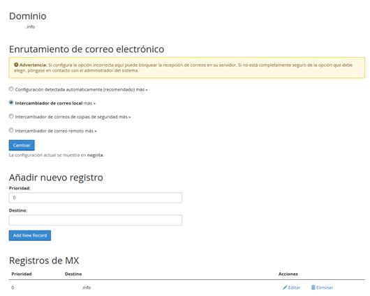 Panel Cpanel Seccion correo entradas MX