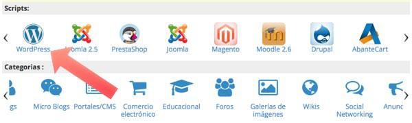 click en icono de wordpress
