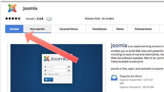 Dale a Instalar para instalar Joomla