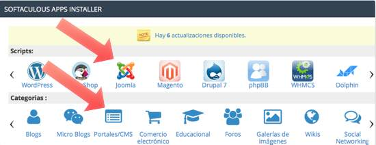 portales CMS para instalar Joomla