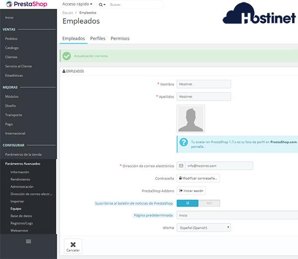 PrestaShop 1.7 Menu Spanish