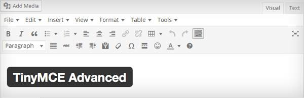 TinyMCE Advance en WordPress