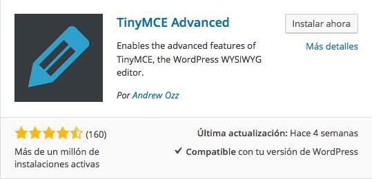 TinyMCE Advance plugin para WordPress