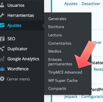 TinyMCE menu WordPress
