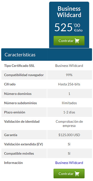contratar business wildcard hostinet