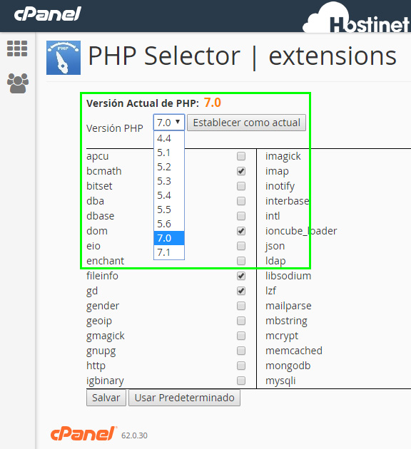 cPanel - Seleccionar versión php selector