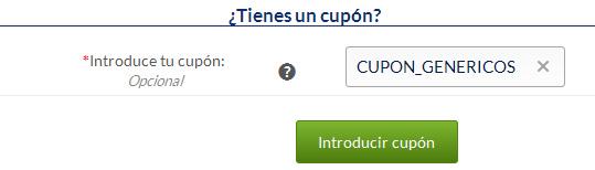 Introducir CUPON_GENERICO