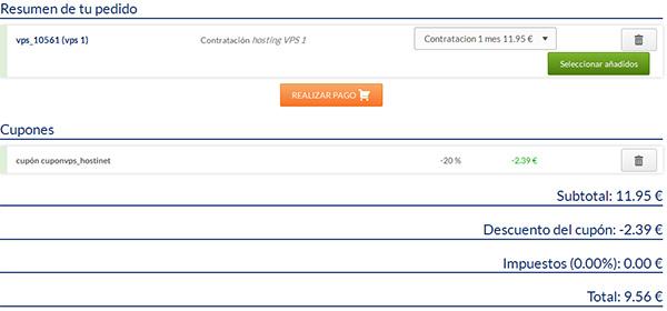 Contratación VPS 1 por 1 mes en Hostinet con código descuento