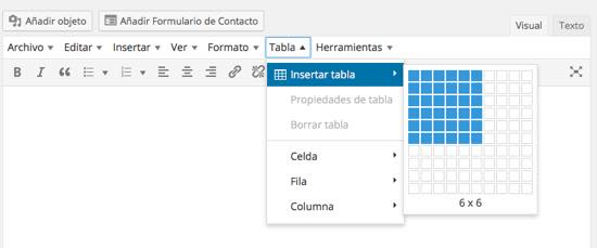 insertar tabla en wordpress