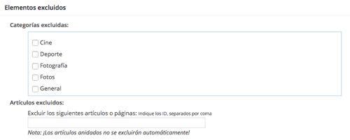 Elementos Excluidos Google XML Sitemaps