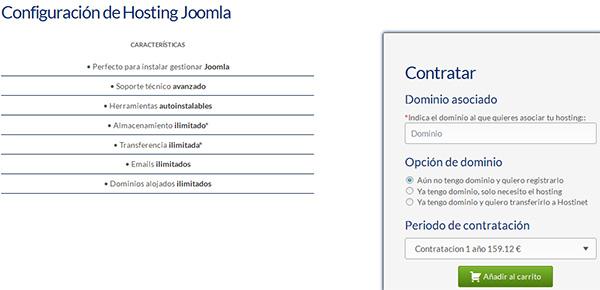 Contratar Hosting Joomla con Hostinet
