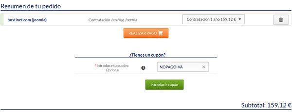 Hosting Joomla página de pedido en Hostinet
