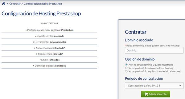 Contratar Hosting PrestaShop con Hostinet