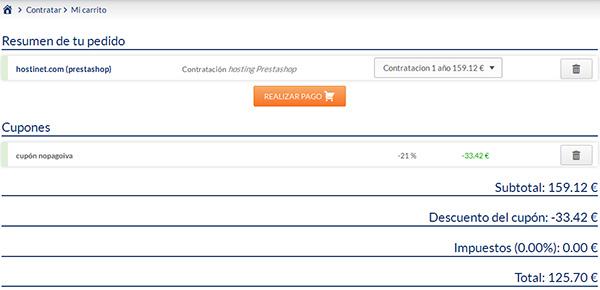 Hosting PrestaShop pagina de pedido con descuento en Hostinet ¡GRAN OFERTA!